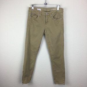 Gap 1969 Always Skinny Tan Moto Jeans Size 27